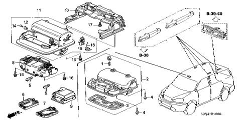 Honda online store : 2005 pilot interior light (-'05) parts