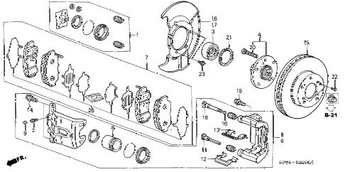 Honda online store : 2007 pilot front brake parts