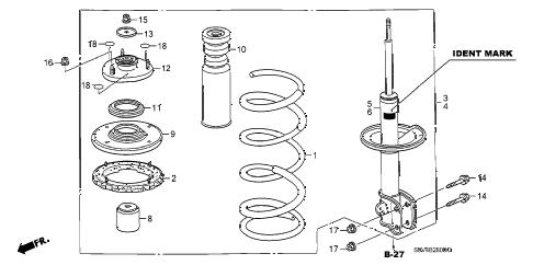 Honda online store : 2003 pilot front shock absorber parts