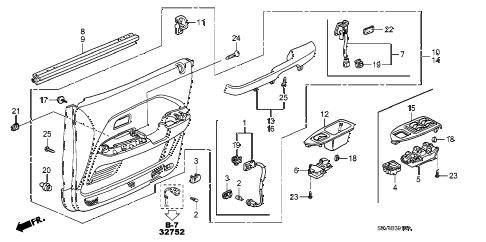 Honda online store : 2005 pilot front door lining parts