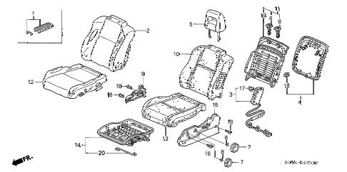 Honda online store : 2003 pilot front seat (l.) (-'05) parts
