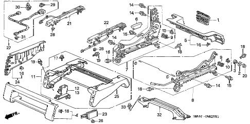Honda online store : 2007 pilot front seat components (r