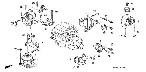 Honda online store : 2006 pilot engine mounts ('06-) (4wd