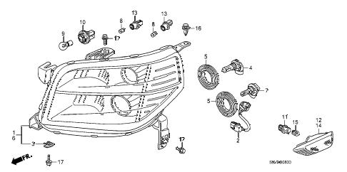 Honda online store : 2008 pilot headlight parts