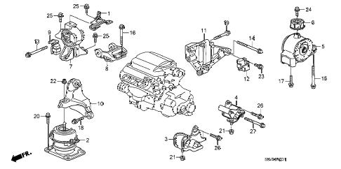Honda online store : 2008 pilot engine mounts (4wd) parts