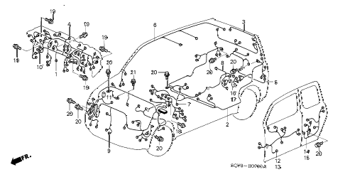 Honda online store : 2004 element wire harness parts