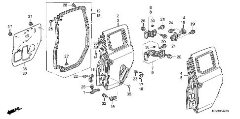Honda online store : 2005 element rear access panels parts