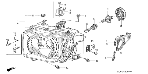 Honda online store : 2003 element headlight parts