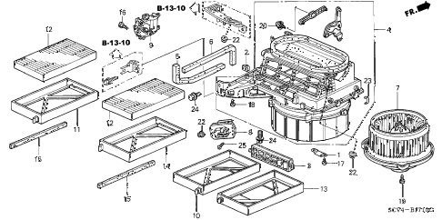 Honda online store : 2004 element heater blower parts