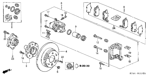 Honda online store : 2003 element rear brake (disk) parts