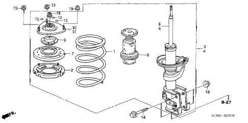 Honda online store : 2003 element front shock absorber parts