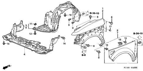 Honda online store : 2003 element front fender parts