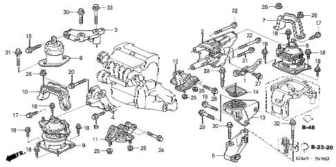 Honda online store : 2004 accord engine mounts (l4) (mt) parts