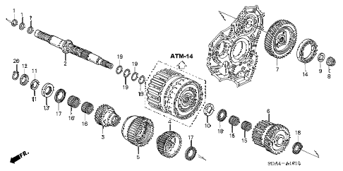 Honda online store : 2005 accord at secondary shaft (v6) parts
