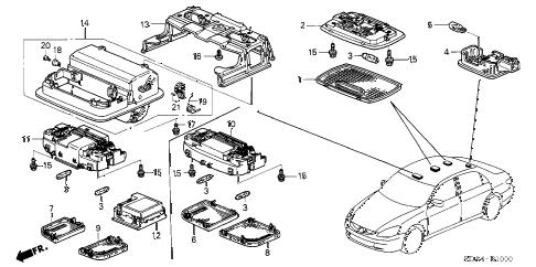 Honda online store : 2005 accord interior light parts