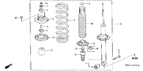 Honda online store : 2003 accord rear shock absorber parts