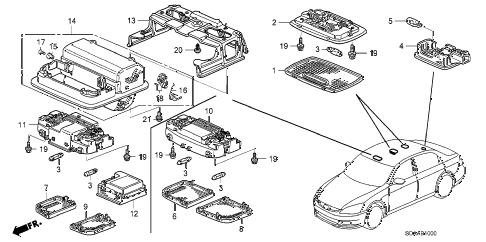 Honda online store : 2007 accord interior light parts
