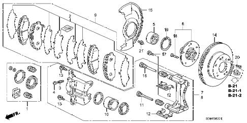 Honda online store : 2007 accord front brake (2) parts