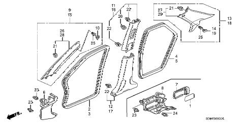 Honda online store : 2007 accord pillar garnish parts