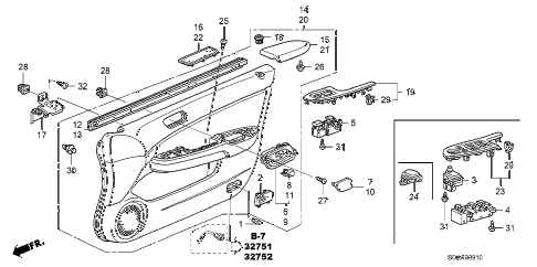 Honda online store : 2007 accord front door lining parts
