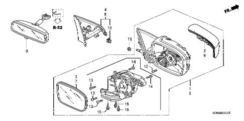 Honda online store : 2007 accord mirror (manual type) parts