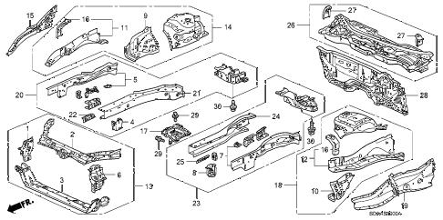Honda online store : 2007 accord front bulkhead