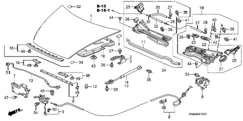 Honda online store : 2007 accord engine hood parts