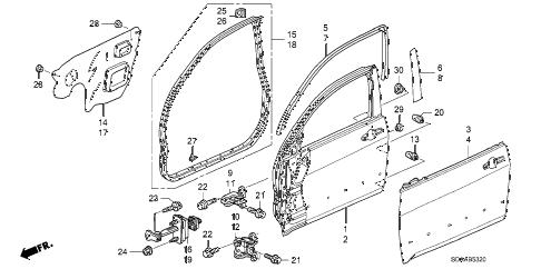 Honda online store : 2007 accord front door panels parts