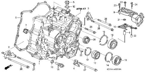 Honda online store : 2004 accord at transmission case (v6