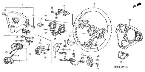 Honda online store : 2003 accord steering wheel (srs) parts