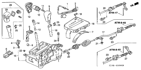 Honda online store : 2003 accord select lever parts