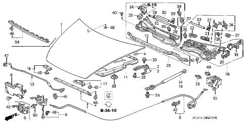 Honda online store : 2004 accord engine hood parts