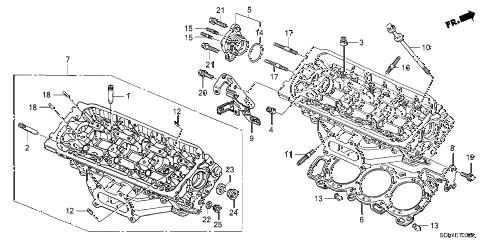 Honda online store : 2003 accord rear cylinder head (v6) parts