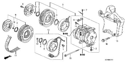 Honda online store : 2007 accord a/c compressor (v6) parts