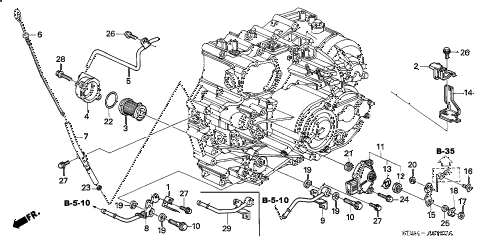 Honda online store : 2007 accord at atf pipe parts