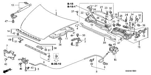 Honda online store : 2005 accord engine hood parts