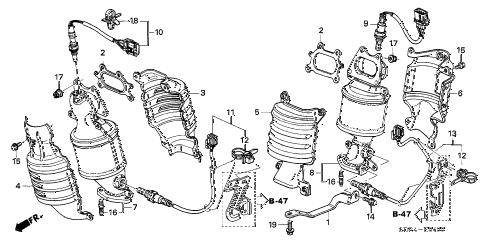Honda online store : 2005 accord exhaust manifold parts