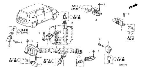 Honda online store : 2007 odyssey srs sensor ('07-) parts