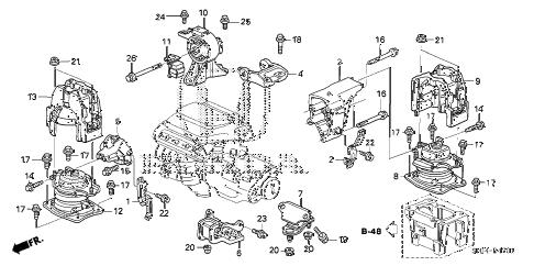 Honda online store : 2006 odyssey engine mounts (-'06) (2