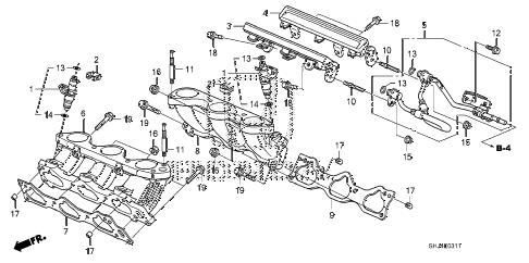 Honda online store : 2008 odyssey fuel injector (2) parts