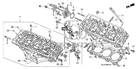 Honda online store : 2006 odyssey rear cylinder head (1) parts