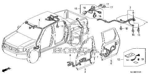 Honda online store : 2006 ridgeline wire harness (4) parts
