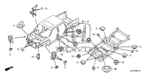 Honda online store : 2007 ridgeline grommet (fr.) parts