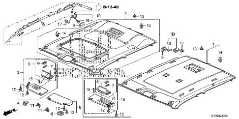 Honda online store : 2007 ridgeline roof lining parts