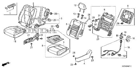 Honda online store : 2006 ridgeline front seat (r.) (1) parts