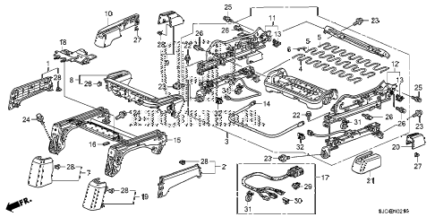 Honda online store : 2007 ridgeline front seat components