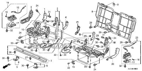 Honda online store : 2006 ridgeline rear seat components parts