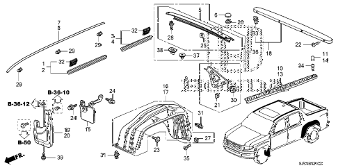 Honda online store : 2006 ridgeline molding parts