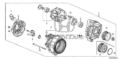 Honda online store : 2011 ridgeline alternator (denso) parts