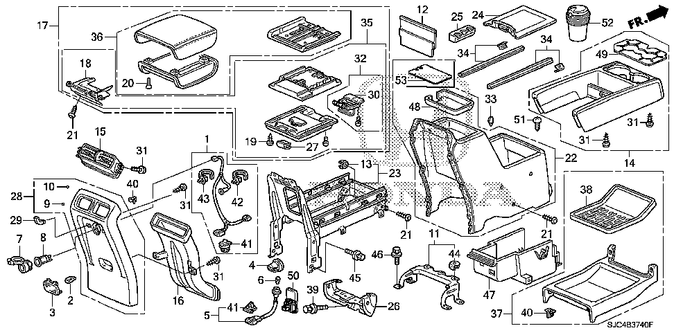 Honda online store : 2012 ridgeline console parts